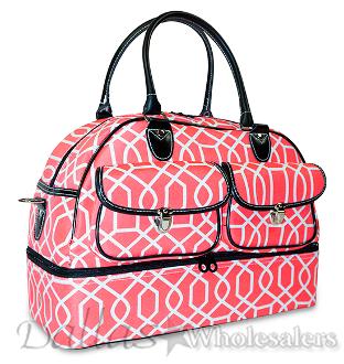 Coral Pink Geometric Print Drop Bottom Duffle Bag and Overnight Bag fb2fea58e04b1