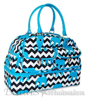 Elephant Chevron Print Drop Bottom Duffle Bag and Overnight Travel Bag 44503fb2592a4