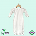 Long sleeves baby night gown with fold over mitten.