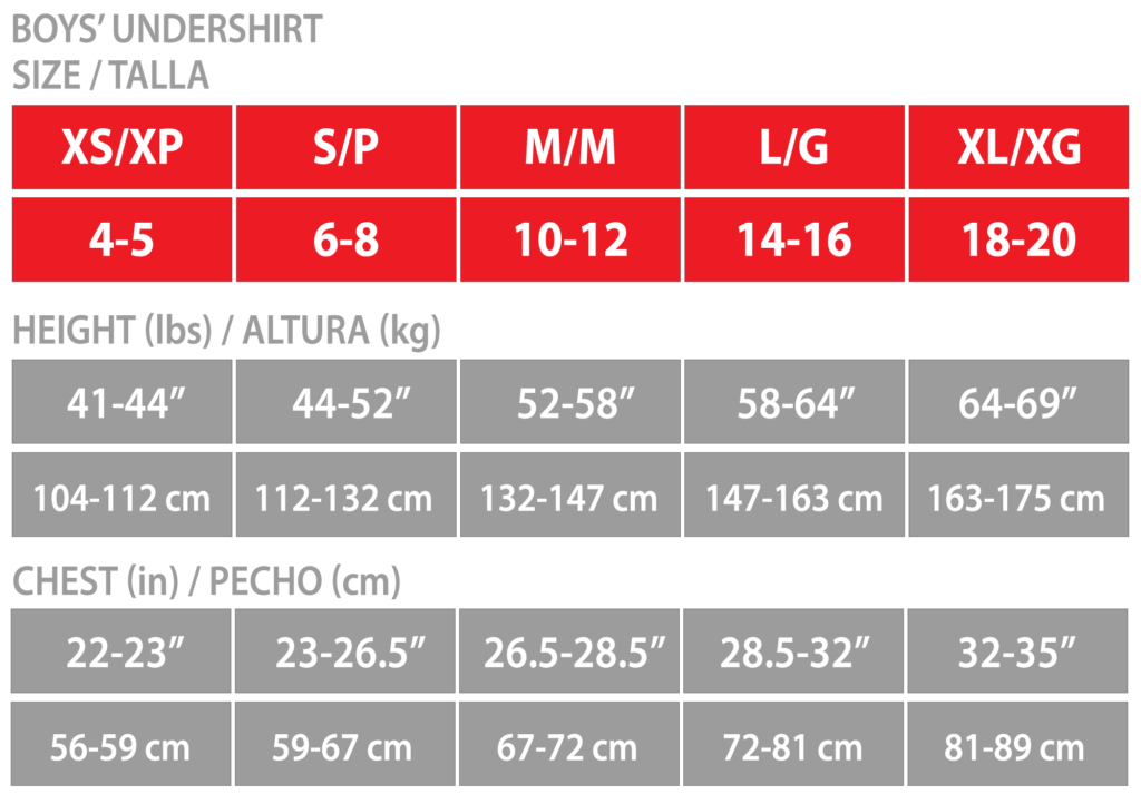 Sizing chart for boys' undershirts